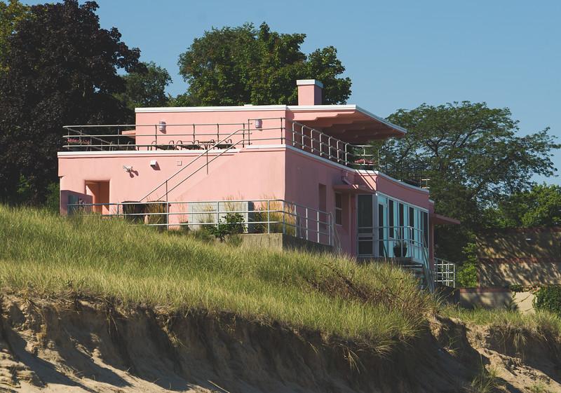 "The ""Pink House"" along Lake Michigan"
