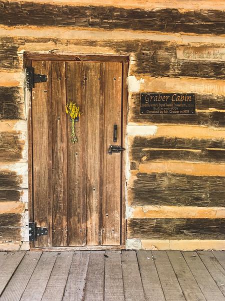 The front door of the Graber Cabin