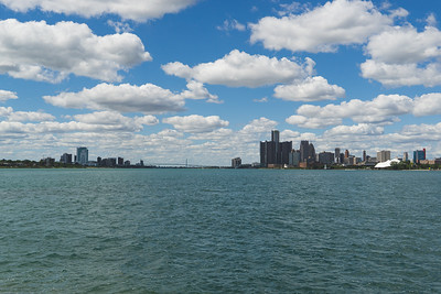 The Duel Skylines of Detroit and Ontario with the Ambassador Bridge connecting from Sunset Point