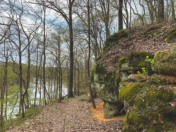 The Moss-Covered Sandstone formations along the trail.