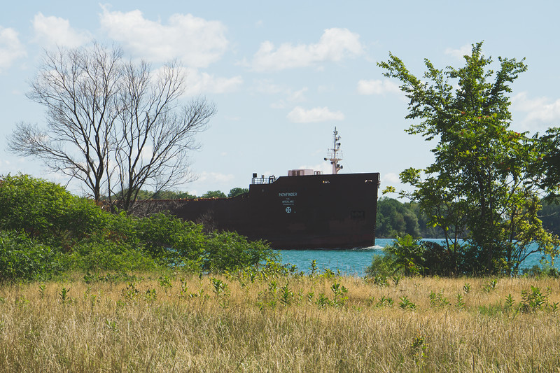 A Ship passing on the Detroit River