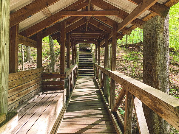 Shelter between two staircases on Trail 3