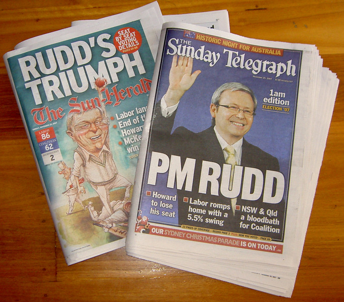 Ruddslide -- Sydney newspaper front pages from 25th November, 2007
