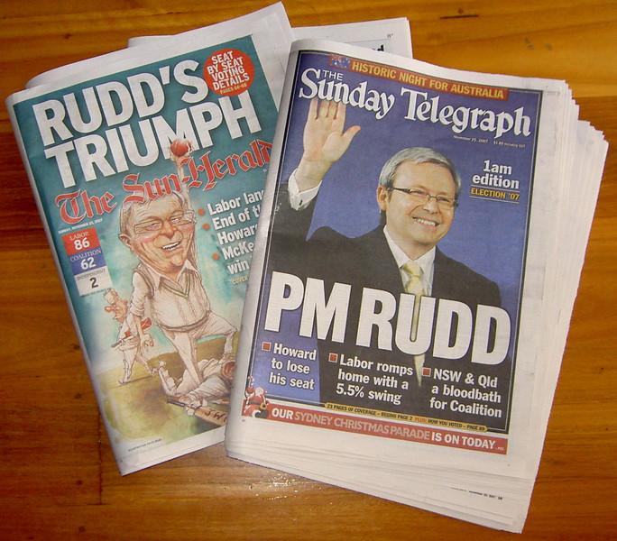 Ruddslide -- Sydney newspaper front pages from 25th November, 2007