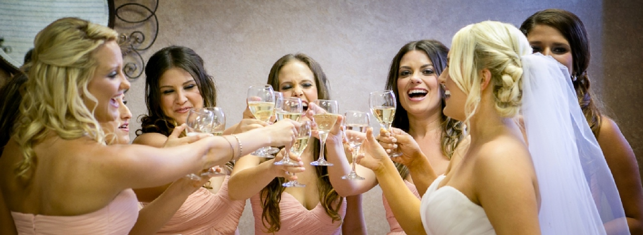 Bridesmaids celebrate before wedding