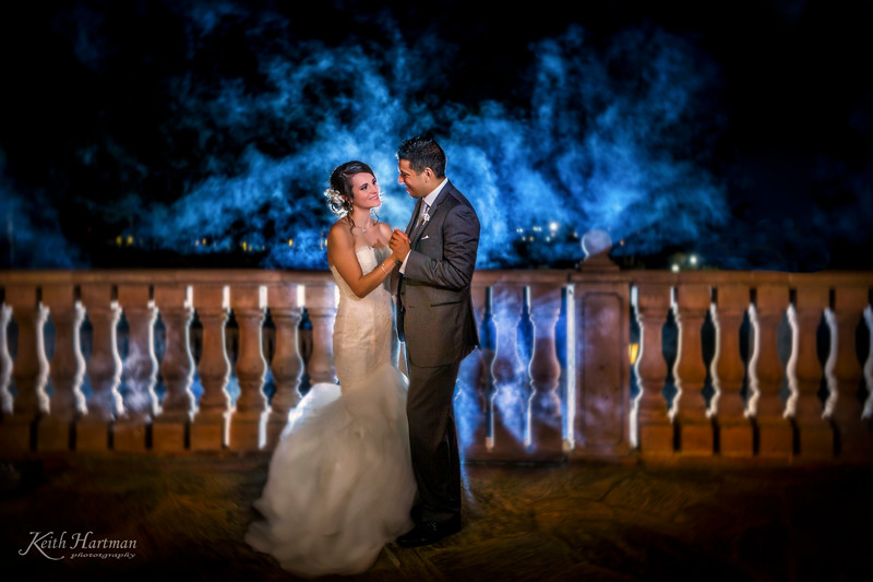 We brought a fog machine and had some fun with Maria and Jaun as they danced in the fog.   We used multiple flash and color gels to get this effect.