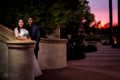 Sunset street with the Bride & Groom