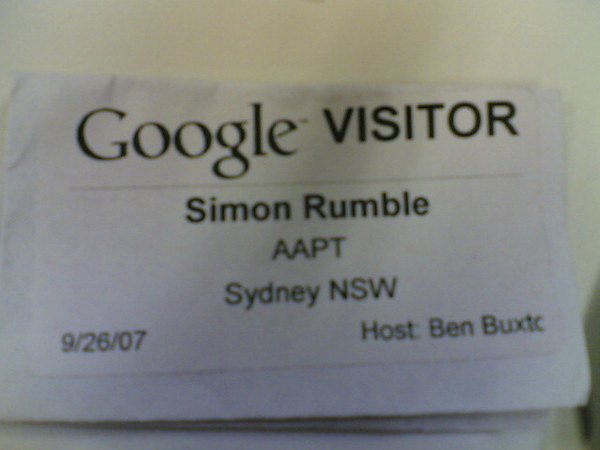 Visitor pass from visiting BB at Google Sydney