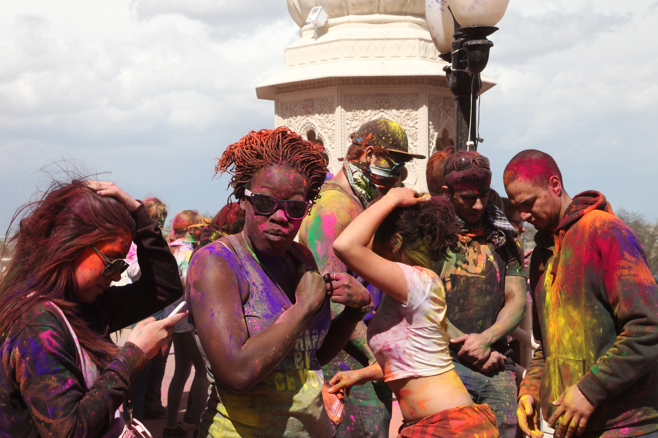 March: at the Holi Festival of Colors, Spanish Fork, Utah