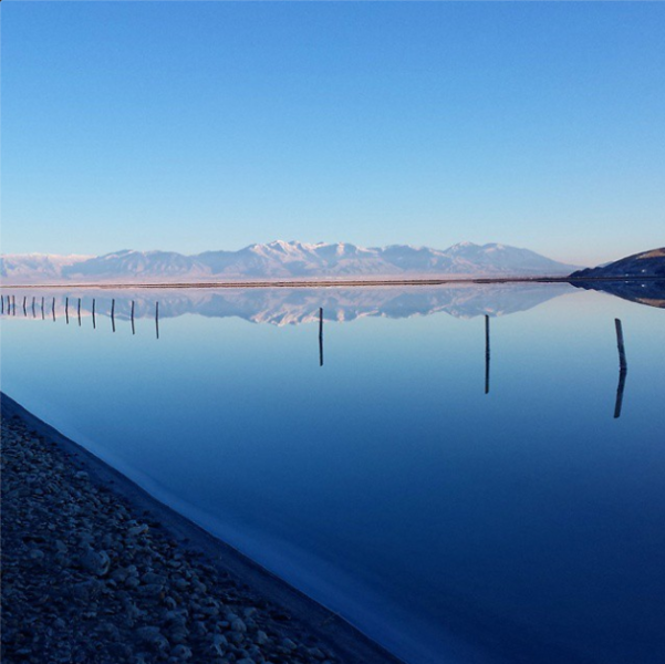 November: mountains reflected in the Great Salt Lake