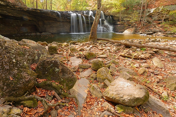 Brush Creek Falls, WV in autumn after drought.