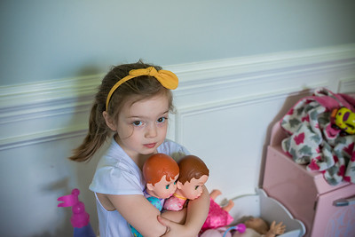 2016 June Madeline with Baby Dolls 3 Years Old -1-1