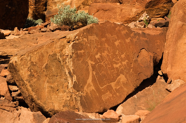 Twijfelfontein rock art, ancient engravings, the Lion Man, Southern Damaraland, Namibia