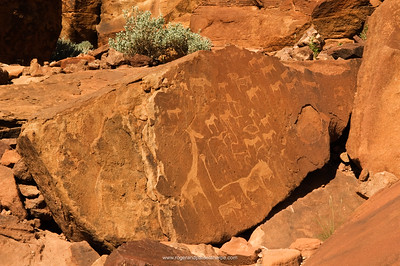 Twijfelfontein rock art, ancient engravings, the Lion Man, Southern Damaraland, Namibia