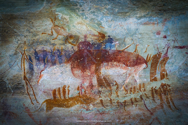 San Rock Art at Tandjiesberg. Near Ladybrand. Eastern Free State. South Africa.