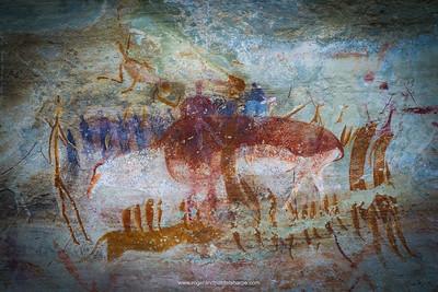 San Rock Art at Tandjiesberg. Near Ladybrand. Eastern Free State. South Africa.