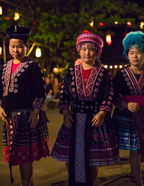 three young ladies representing hill tribes of northern Thailand