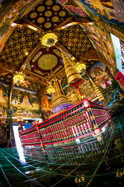 a Buddhist shrine next to the ruins of Wat Chedi Luang