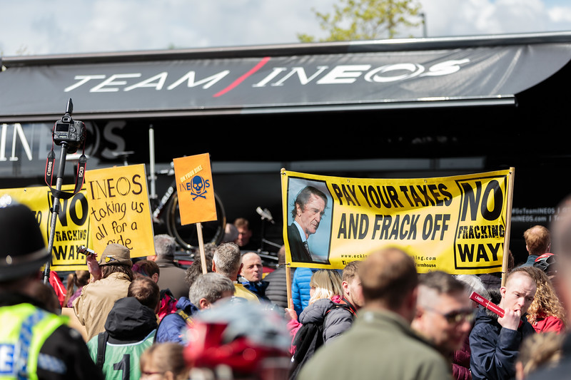 Team Ineos Protesters at the 2019 Tour De Yorkshire