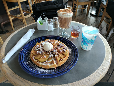 Cafe Borrone's namesake drink and an apple walnut waffle. Breakfast was more dessert-y than intended.