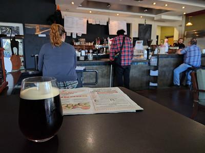 Enjoying a nitro cold brew at Back Yard Coffee Co.