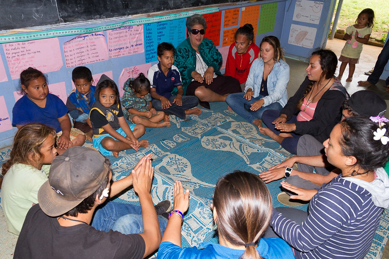 Sharing games, songs and dances with the students of Mangaia.