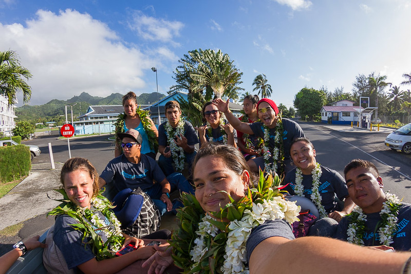Landed in Rarotonga leaving the Airport in the back of a pickup truck.