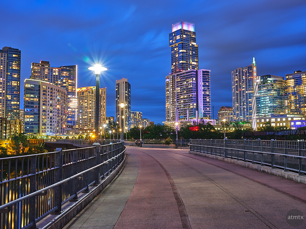 Skyline from Pfluger Pedestrian Bridge - Austin, Texas