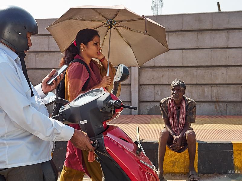 Woman with Umbrella - Mysore, India