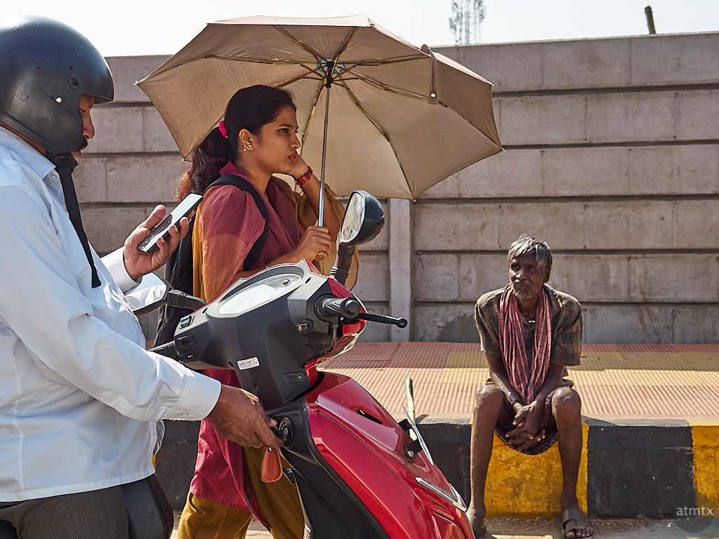 Woman with Umbrella - Mysore, India