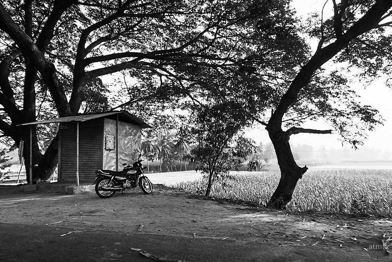 Lone Bike - Road to Mysore, India