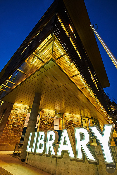 Golden Library at Blue Hour - Austin, Texas