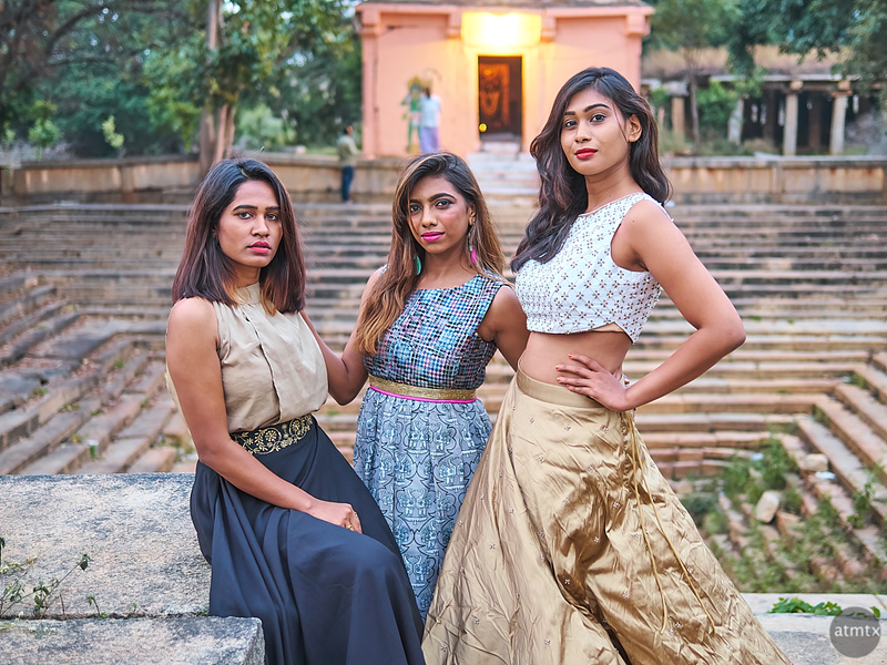 Three Models at a Temple - Bangalore, India