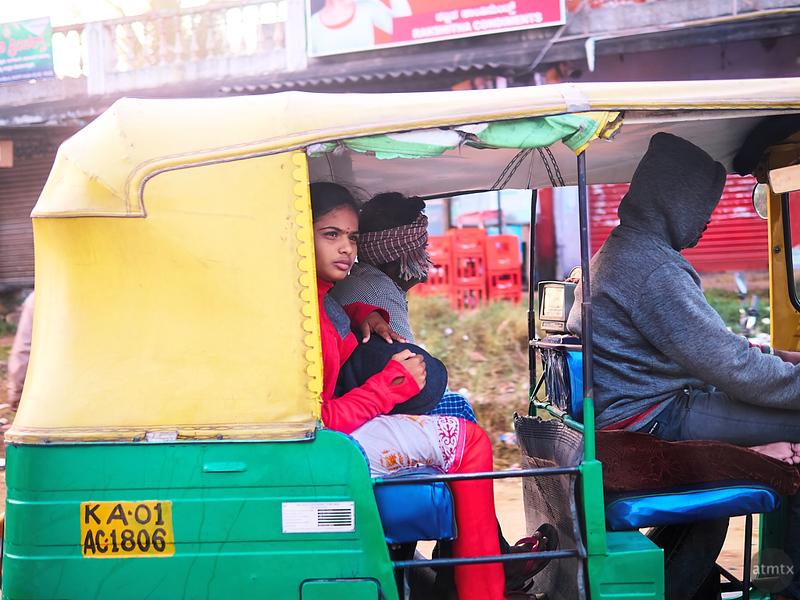 Girl in Auto - Road to Mysore, India
