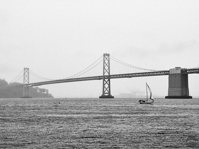 Sailboat and Bay Bridge - San Francisco, California