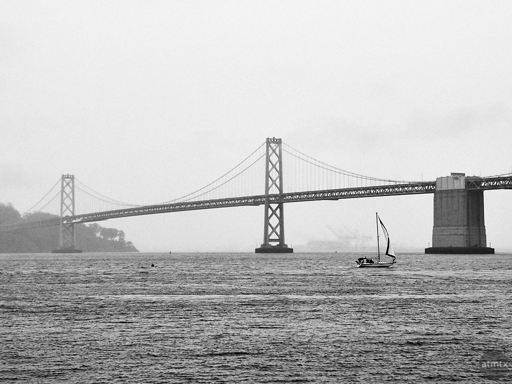 Sail Boat and Bay Bridge - San Francisco, California
