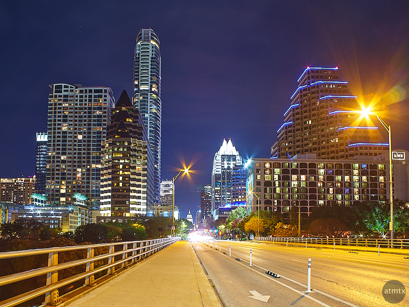 Congress Avenue at Night - Austin, Texas
