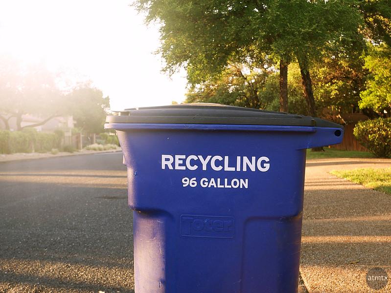 Sunshine and Recycling Bin - Austin, Texas