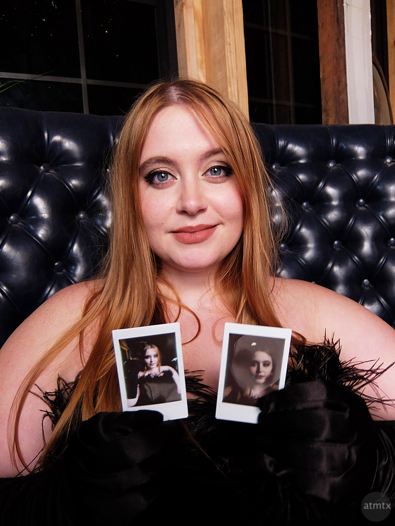 Emily with her Instax Prints - Austin, Texas