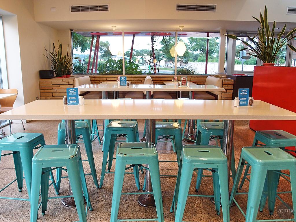 Turquoise Stools, P. Terry's - Austin, Texas