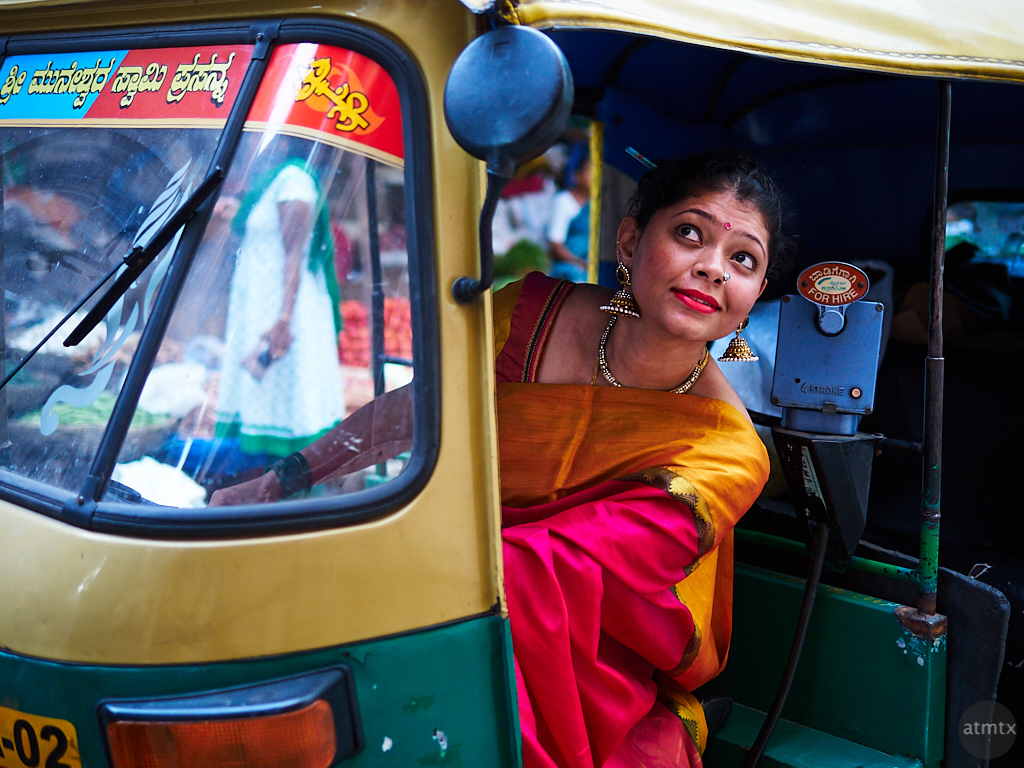 Sahana on a Tuk Tuk - Bangalore, India