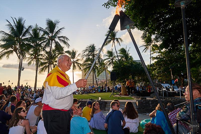 Torch Lighting, Hula Show - Honolulu, Hawaii