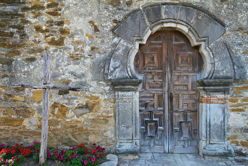 Mission Espada Entrance Detail - San Antonio, Texas
