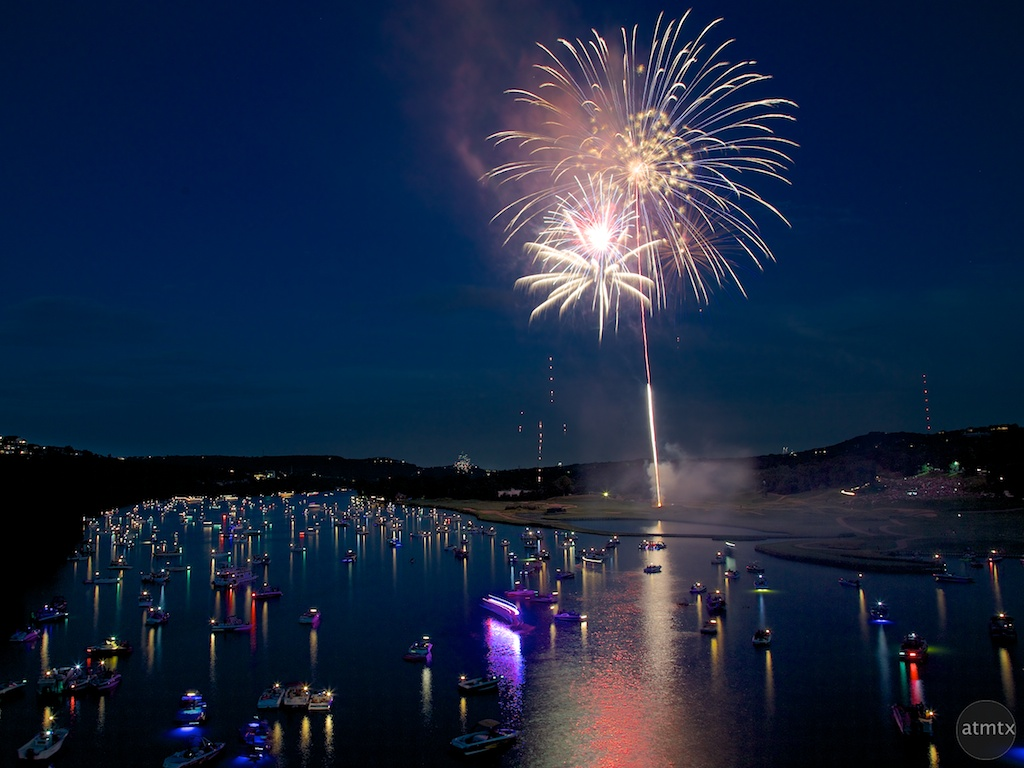 Fireworks over Lake Austin (2014) - Austin, Texas