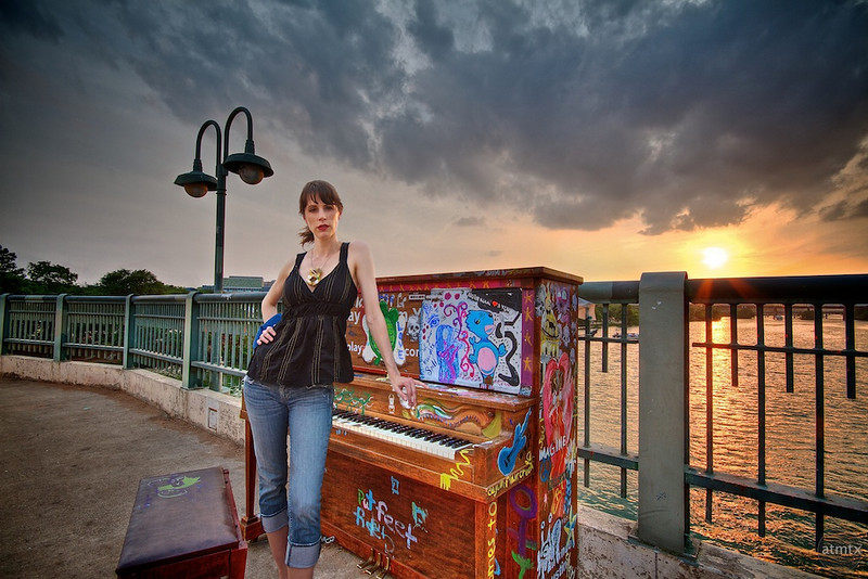Model Eight with Piano at Sunset - Austin, Texas