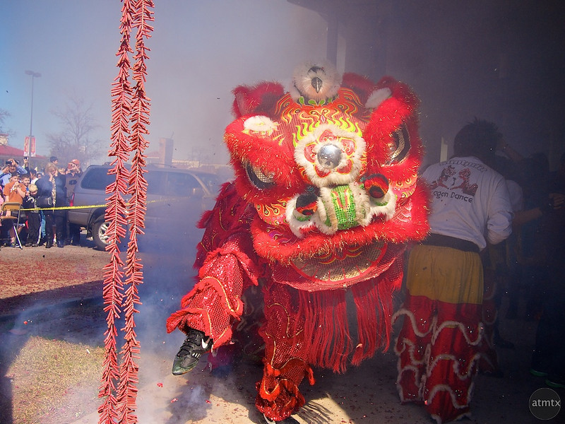 Lion Dance and FIreworks, 2012 Chinese New Year Celebration - Austin, Texas