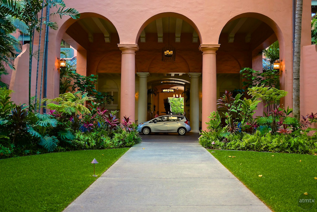Small Car at the Grand Entrance, Royal Hawaiian - Honolulu, Hawaii