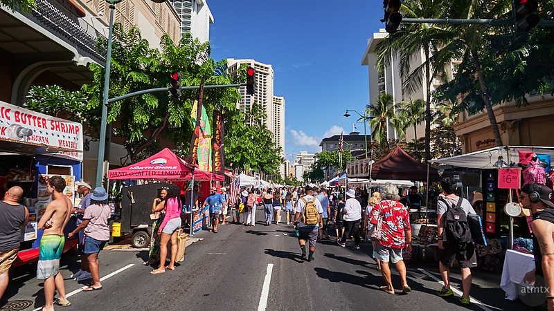 A Street Fair on Kalakaua Avenue - Honolulu, Hawaii