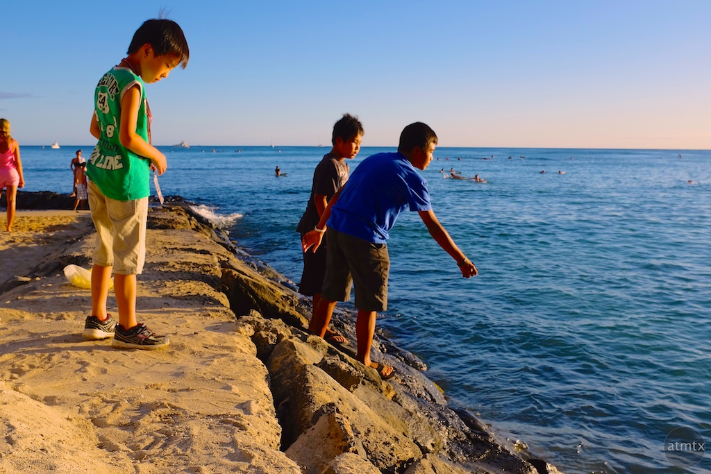 Three Boys, Waikiki Beach - Honolulu, Hawaii