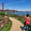 A Tourist Admires the Golden Gate - San Francisco, California